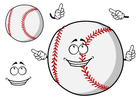 顔と別の要素の 2 番目の平野亜種とその指を指してかわいい笑顔で幸せな漫画野球ボール