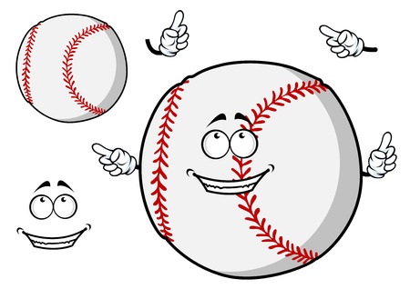 baseball cartoon: Happy cartoon baseball ball with a cute smile pointing its fingers with a second plain variant with no face and separate elements