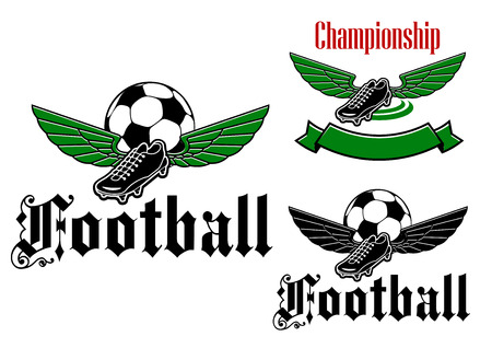 football shoe: Elegant football or soccer ball and boot  with wings and with text for sports club design