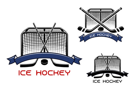 ice: Ice hockey game sports symbols or emblems with crossed hockey sticks, puck, gates and ribbons Illustration
