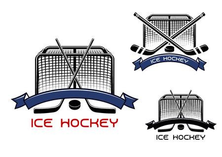 hockey hielo: Juego de hockey sobre hielo se divierte los símbolos o emblemas con palos de hockey cruzados, duende malicioso, puertas y cintas