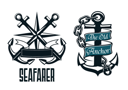nautical vessel: Seafarer marine heraldic emblem and symbol with ship anchors, compass, ribbon and chain for heraldry design