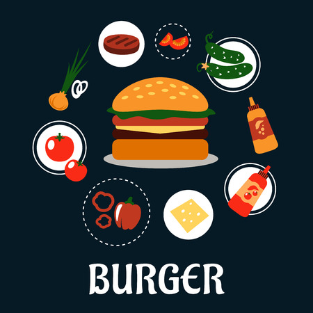 patty: Tasty burger concept with ingredients including tomato, pepper, onion, beef patty, cucumber, mustard, ketchup and cheese Illustration