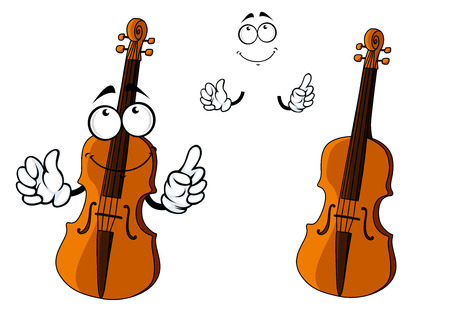 violines: Personaje de dibujos animados violín, instrumento marrón con la cara feliz sonriendo y pequeñas manos, para el diseño de arte y música