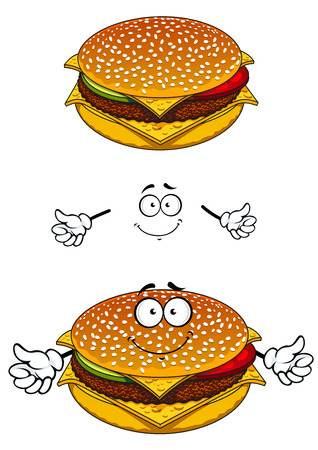 Delicious tasty sesame cheeseburger character with a happy face and waving arms for fast food design, isolated on white