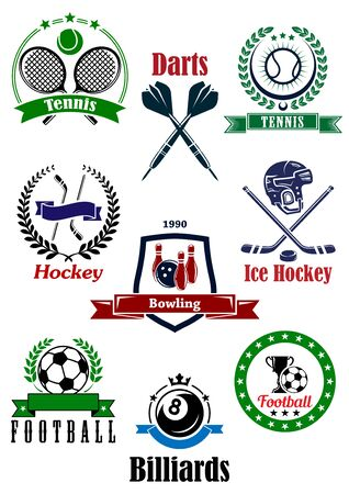 Assorted games logo and emblems emphasizing tennis, darts, ice hockey, bowling, football and billiard sports Illustration