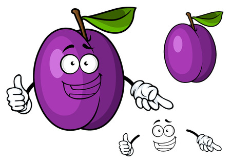 prune: Happy purple cartoon plum fruit character giving a thumbs up, isolated on white background Illustration