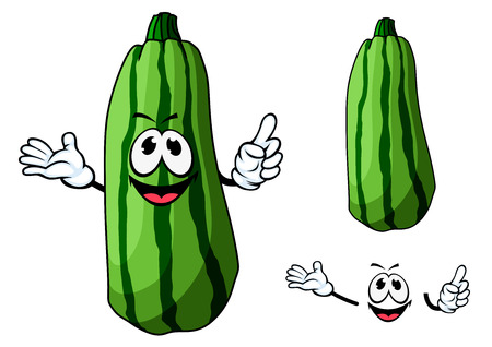 garden plant: Happy green cartoon zucchini vegetable character with waving hands and a pleased grin with a second plain variation, isolated on white