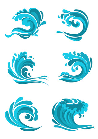 Curling sea and ocean blue waves for use as environment, nature or ecology concept design 일러스트