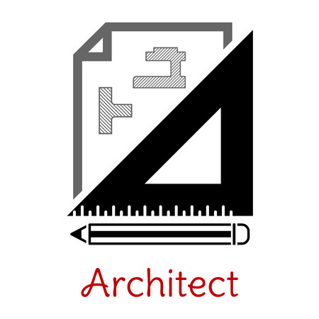 architect plans: Black and white architect icon with a building blueprint, right angle set square and pencil with text Architect below