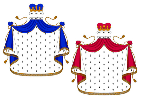 king and queen: Blue and purple royal mantles with golden embellishments for use as design elements in heraldry, isolated on white background Illustration