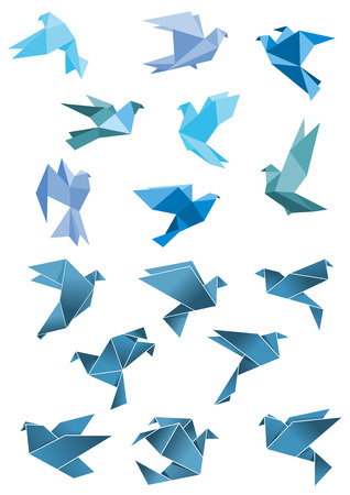 pigeons: Origami paper stylized blue flying pigeon and dove birds set, isolated on white, for peace and freedom concept design