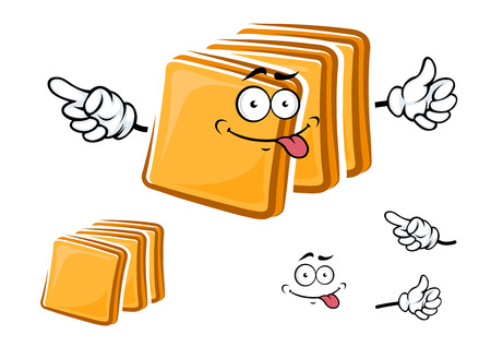 white bread: Happy cartoon sliced toasts of white bread with a protruding tongue and waving arms with a second plain variant with no face and separate elements Illustration