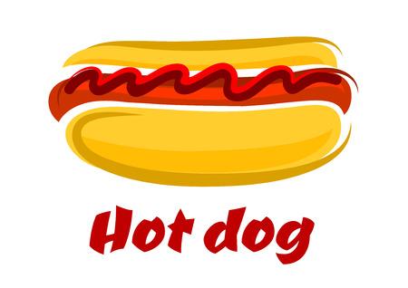 フランクフルト ソーセージ ・ ケチャップと本文下のホットドッグにのって美味しい漫画ホットドッグ