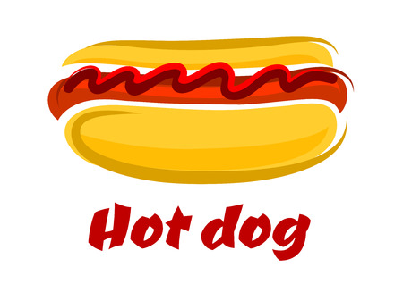 perro comiendo: Dibujo animado delicioso perro caliente en un rollo con una salchicha de Francfort y la salsa de tomate y el texto del perrito caliente de abajo