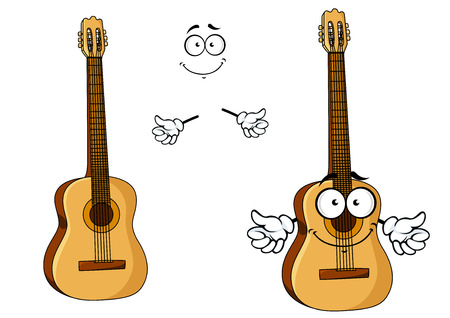 Happy cartoon wooden acoustic guitar character with googly eyes, a happy grin and waving arms with a second plain variant with no face and separate elements? for music design Illustration
