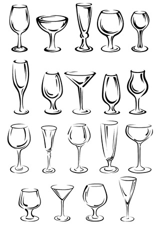 glass wine: Doodle glassware and dishware sketches set with black and white outlines of a variety of different shaped glasses