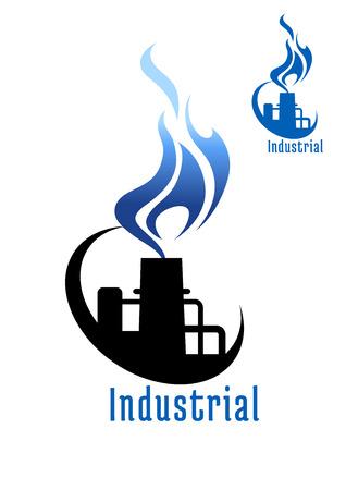 gas flame: Impianti industriali o in fabbrica con la fiamma del gas blu e tubi per simboli o logo design industria Vettoriali