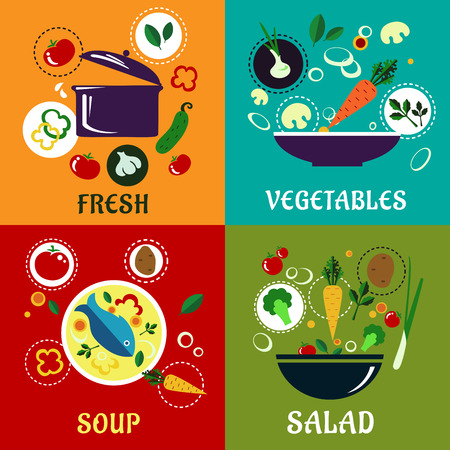 Healthy eating concept with fresh tomato, cucumber, broccoli, mushroom, potato, onion and herbs ingredients for the pot, a salad, a seafood soup and vegetable dish Vector