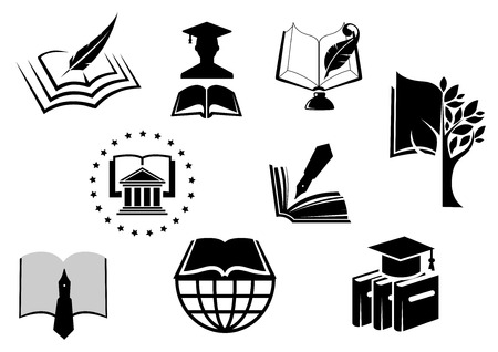 Black and white education or knowledge icons with open books with pens, nibs, quill pens, mortar board hat and a graduate in a cap and gown Çizim