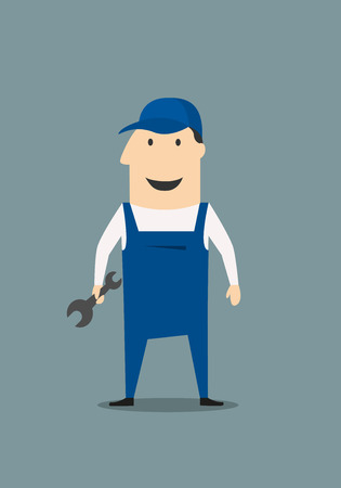 Cartoon mechanic or handy man holding a spanner or wrench standing in his overalls with a happy smile