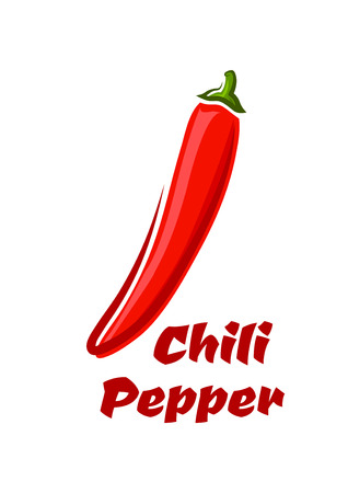 organic peppers sign: Cartoon Red hot cayenne chili pepper vegetable isolated on white background