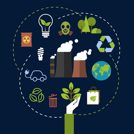 environment: Environment and ecological conservation concept with green icons for recycling, electric cars, green leaves, eco-friendly energy with a radiation symbol, gas mask and industrial chimney belching fumes