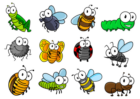 mariquitas: Colorida colección de insectos de la historieta del vector e insectos con las orugas, mariquita, mariposa, saltamontes, mosca, araña, abeja, avispa, avispas y hormigas