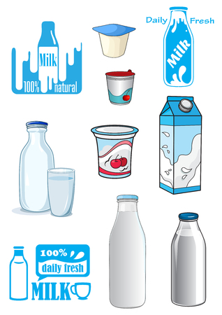 yoghurt: Cartoon milk products and drinks with various bottles, cartons, yoghurt containers and emblems or signs in shades of blue Illustration