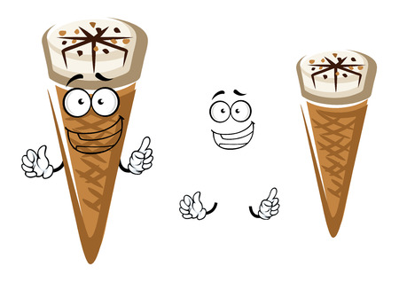 pack ice: Cute cartoon summer ice cream character in a cone with a happy face and waving hands with a second plain variant with no face and separate elements for snack design