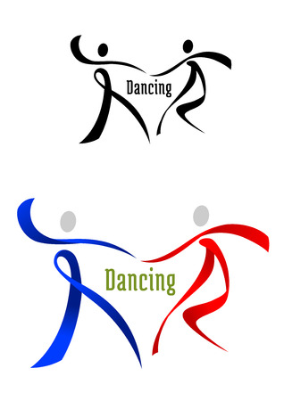 Black, blue and red dancing partner in ribbon style for sports and leisure symbol design