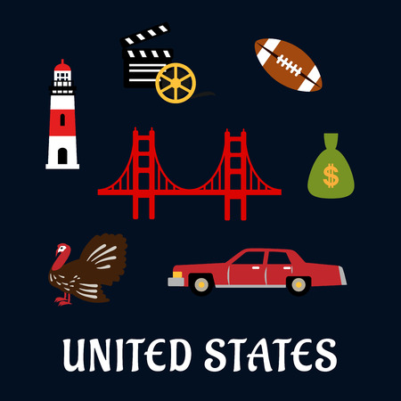 golden gate bridge: Colored flat travel United States icons with Thanksgiving turkey, Golden Gate Bridge, football, lighthouse, film, classic car and dollar money bag