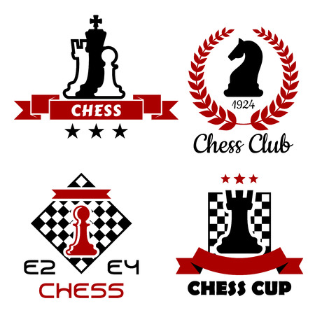 chess: Black and red Chess cup, club and tournament symbols or emblems isolated on white background