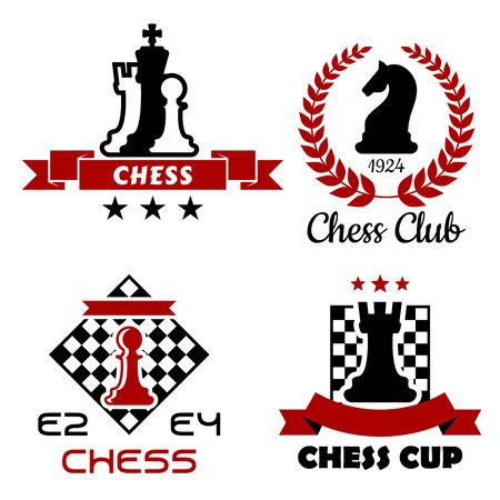 ajedrez: Copa de Ajedrez Negro y rojo, del club y del torneo s�mbolos o emblemas aislados sobre fondo blanco Vectores