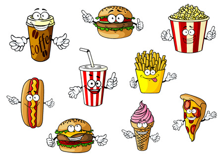 Colorful cartoon fast food and takeaways characters with hot dog, coffee, burger, popcorn, soda, French fries, cheeseburger, ice cream and pizza, vector illustration isolated on white Vector