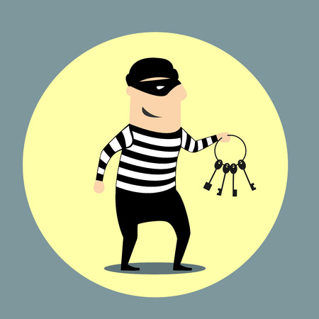 swindler: Burglar dressed in a mask and striped clothes carrying a bunch of keys inside a yellow circular icon, flat style Illustration