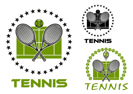 backhand: Black and green tennis game sports emblems or icons with crossed rackets, ball, stars, court and text Tennis Illustration