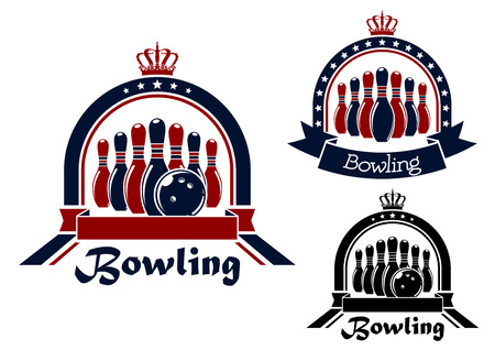 bowling strike: Blue, red and black Bowling symbol or emblem in round frame with stars, crown and ribbon