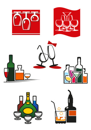 Glasses, wineglasses and alcohol icons or symbols for cafe, bar or restaurant design Vector