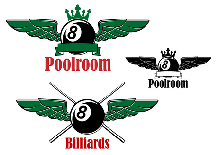 Black 8 ball for pool, snooker or billiards sport game emblem design with ball, crossed cues, crown and wings