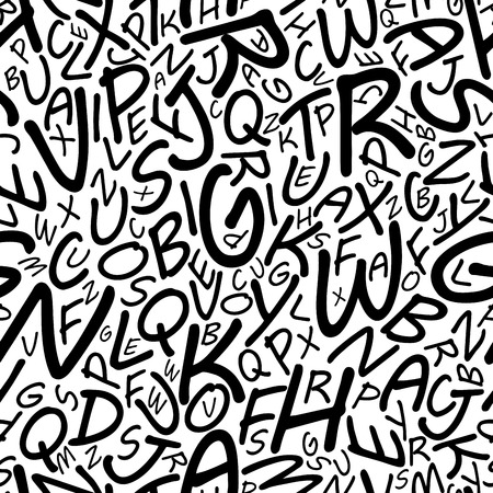 cartooned: Black alphabet letters seamless pattern in a cartooned font for education, library or another background design