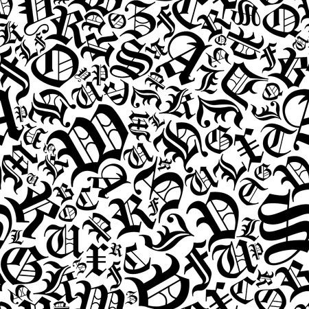 Black alphabet letters seamless pattern in a gothic german font style for background or interior design Vector