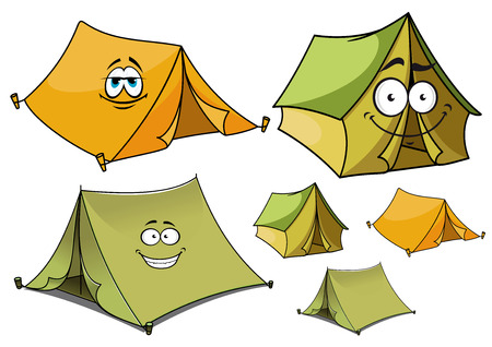 Cartoon happy travel tents characters with green and yellow ridge tents supporting wooden stakes, for travel or camping design Vector