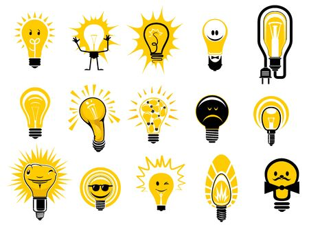 yellow bulb: Glowing light bulbs icons in cartoon style showing electric filament lamps with bright yellow light, isolated on white background, for creative idea or electricity concept design
