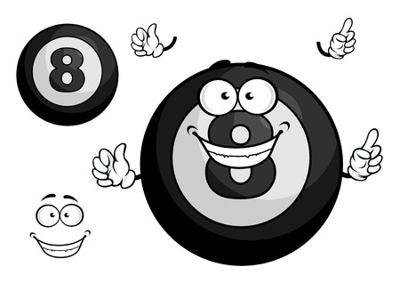 billiards rooms: Billiard cartoon black eight ball mascot character with joyful smile showing upward isolated on white background for t-shirt print or sporting design