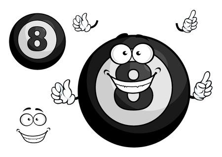bola ocho: De dibujos animados de Billar bola ocho caracteres negro mascota con alegre sonrisa que muestra hacia arriba aislado sobre fondo blanco para la camiseta de la impresión o diseño deportivo