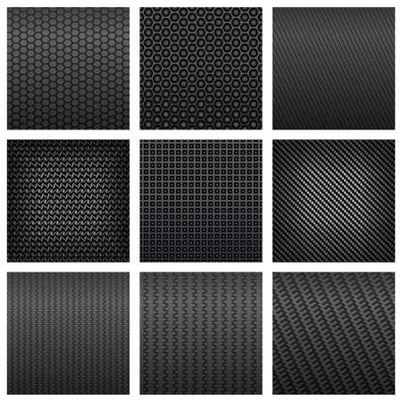 fiber: Dark gray carbon fiber seamless pattern backgrounds with various shapes, for backdrop or modern technology design Illustration