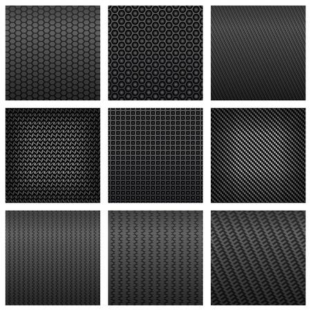 De fibra de carbono de color gris modelo inconsútil fondos oscuros con diversas formas, por telón de fondo o el diseño de la tecnología moderna
