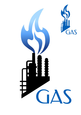 Gas and oil industry icon refinery or petrochemical factory black silhouette with blue burning flame isolated on white background with caption Gas Vector