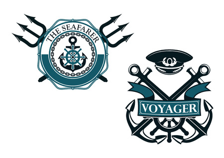 captain cap: Retro voyager and seafarer nautical badges or emblems with crossed anchors, helm and captain cap, ribbon banner, tridents, lifebuoy, rope and chain